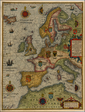 Europe, British Isles, Baltic Countries, Italy, Spain, Mediterranean, Scandinavia and Iceland Map By Lucas Janszoon Waghenaer