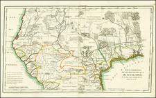Texas, Southwest, Rocky Mountains, Mexico and California Map By Don Juan Lopez / Francisco Alvarez Barreiro