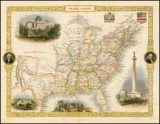 United States and Texas Map By John Tallis