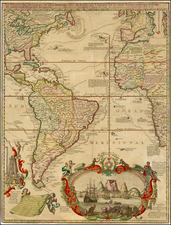 Atlantic Ocean, North America, South America and America Map By Hendrick De Leth