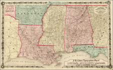 South, Southeast and Texas Map By Joseph Hutchins Colton