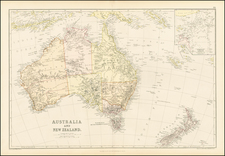 Australia and New Zealand Map By Blackie & Son
