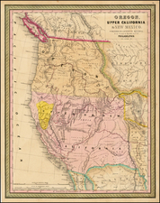 Southwest, Rocky Mountains and California Map By Samuel Augustus Mitchell