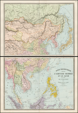 China, Japan, Korea, Southeast Asia, Philippines, Central Asia & Caucasus and Russia in Asia Map By Eugène Andriveau-Goujon