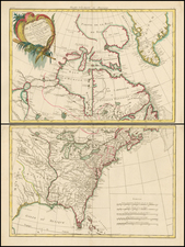United States and North America Map By Rigobert Bonne