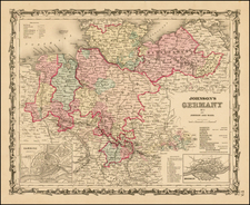 Germany Map By Benjamin P Ward  &  Alvin Jewett Johnson