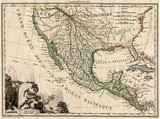 Southwest, Rocky Mountains, Mexico and California Map By Conrad Malte-Brun
