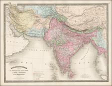 India, Central Asia & Caucasus and Middle East Map By Eugène Andriveau-Goujon
