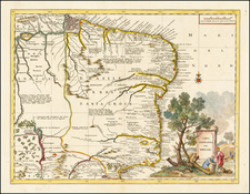 South America and Brazil Map By Giambattista Albrizzi