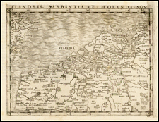 Netherlands and Luxembourg Map By Giacomo Gastaldi