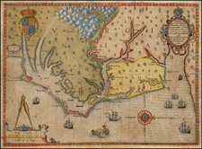 Mid-Atlantic and Southeast Map By Theodor De Bry / John White