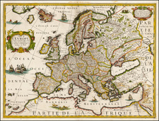 Europe and Europe Map By Melchior Tavernier / Petrus Bertius