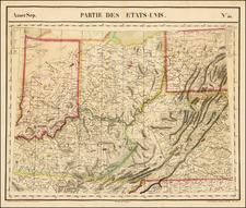 West Virginia, Kentucky, Indiana and Ohio Map By Philippe Marie Vandermaelen