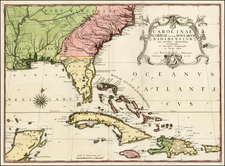 Florida, South, Southeast and Caribbean Map By Mark Catesby - Johan Michael Seligmann