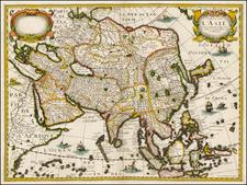 Asia and Asia Map By Melchior Tavernier / Petrus Bertius