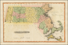 New England and Massachusetts Map By Fielding Lucas Jr.
