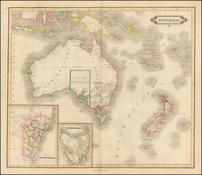Australia & Oceania, Australia, Oceania, New Zealand and Other Pacific Islands Map By Daniel Lizars