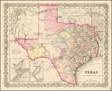 Texas Map By Joseph Hutchins Colton