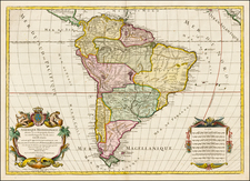 South America Map By Louis Charles Desnos / Alexis-Hubert Jaillot