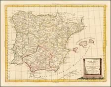 Spain and Portugal Map By Antonio Zatta