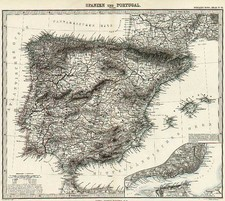 Europe, Spain and Portugal Map By Adolf Stieler