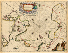 Polar Maps, Canada and Iceland Map By Willem Janszoon Blaeu