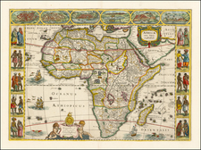 Africa and Africa Map By Jodocus Hondius / Jan Jansson