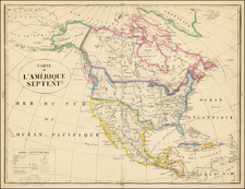 United States and North America Map By Philippe Marie Vandermaelen