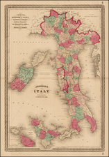 Italy and Balearic Islands Map By Alvin Jewett Johnson