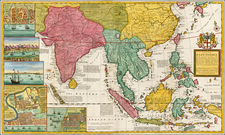 Indian Ocean, China, India, Southeast Asia and Philippines Map By Herman Moll