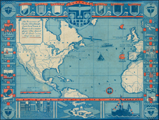 Atlantic Ocean, United States, North America, South America, Curiosities and America Map By Anonymous