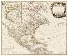 United States, Alaska and North America Map By Gilles Robert de Vaugondy