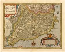 Spain Map By Abraham Ortelius / Johannes Baptista Vrients