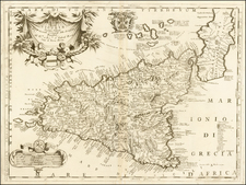 Italy, Southern Italy, Balearic Islands and Sicily Map By Vincenzo Maria Coronelli