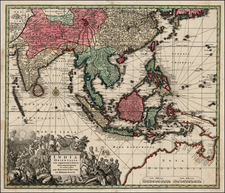 Asia, Asia, India, Southeast Asia, Philippines, Australia & Oceania and Australia Map By Matthaus Seutter