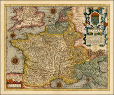 France Map By Abraham Ortelius / Johannes Baptista Vrients