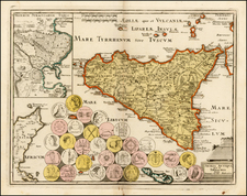 Italy, Balearic Islands and Sicily Map By Johann Christoph Weigel