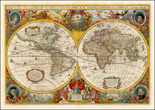 World and World Map By Henricus Hondius