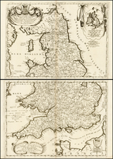 England Map By Vincenzo Maria Coronelli