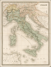Italy Map By Eugène Andriveau-Goujon