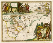 Southeast, Virginia, Georgia, North Carolina and South Carolina Map By John Ogilby