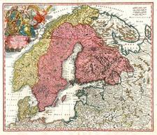 Europe, Russia, Baltic Countries and Scandinavia Map By Johann Baptist Homann