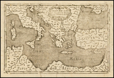 Greece, Mediterranean and Holy Land Map By Anonymous