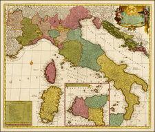 Italy and Balearic Islands Map By Carel Allard / Johannes Van Keulen