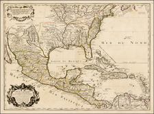 United States, South, Southeast, Texas, Midwest, Southwest, Rocky Mountains and Mexico Map By Guillaume De L'Isle