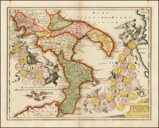 Italy and Balearic Islands Map By Johann Christoph Weigel