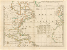 Atlantic Ocean, United States and North America Map By Thomas Jefferys