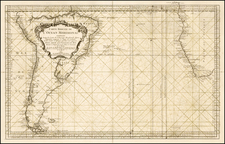 Atlantic Ocean, South America, Africa and South Africa Map By Jacques Nicolas Bellin