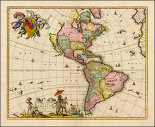 Western Hemisphere, South America and America Map By Nicolaes Visscher I