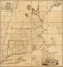A Map Of The Most Inhabited Part Of New England Containing The Provinces Of Massachusets Bay and New Hampshire. With the Colonies of Conecticut and Rhode Island . . . 1755 By Thomas Jefferys / Bradock Mead